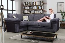 New Lisbon Formal Back Corner Sofa Left Hand Chunky Cord in Black and Grey