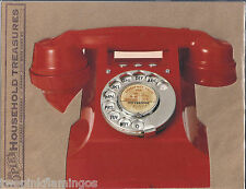 Retro Red Desk Phone Die Cut Days Gone By Blank Postcard w/Mailing Envelope NEW