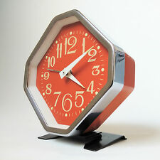 Vintage alarm clock retro space age desk table mantle clock wind up key wound