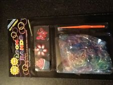 lot GLITTER rainbow bright 300 rubber BANDS 3 charms10 clips DIY LOOM bracelets