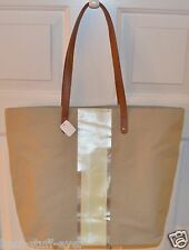 NEW BATH & BODY WORKS TAN STRIPE BEIGE GOLD TOTE CANVAS BAG PURSE VIP HANDBAG