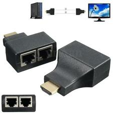 2x HDMI To Dual Port RJ45 Network Cable Extender Over by Cat 5e/6 1080p for PC