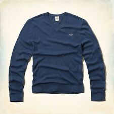Hollister by Abercrombie Men's Huntington Beach V-Neck Sweater XLarge XL BLUE