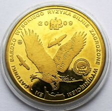 POLAND 10 MIEDZIAKÓW 2009 RED BOOK GOLDEN EAGLE BIRD LARGE 32mm COIN IN CAPSULE