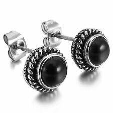MENDINO Men's Women's Stainless Steel Stud Earrings Classic Round Agate Black