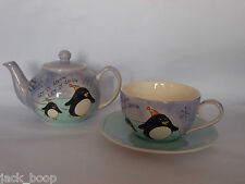 WHITTARD LET IT SNOW PENGUINS CHRISTMAS CUP SAUCER AND TEAPOT