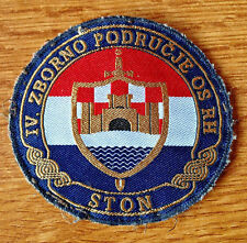 CROATIA ARMY   HV    4th MILITARY DISTRICT - STON  sleeve patch  RARE