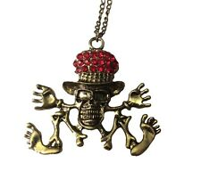 Skeleton Zombie Red Jeweled Top Hat Bronze Effect Steampunk Pendant Necklace