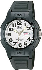 NEW Q&Q White Dial Mens Watch with Black Polyurethane Bracelet A128J001Y