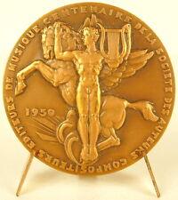 Médaille Allégorie de la musique Pégase c1950 Roger Xardel Music Pegasus Medal