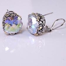 Designer Earrings AB Aurora Borealis CZ Crystal Silver Gold 18KGP Balinese Style