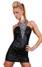 Sexy Mini Kleid Leder Wet Look Rhinestone Party Mini Dress Black
