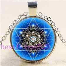 OM Flower of Life Cabochon Glass Tibet Silver Chain Pendant Necklace