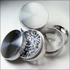 "Space Case Herb & Tobacco Grinder Large 3.5"" Inch 4 Piece Sifter Aluminum Silver"