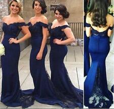 Navy Blue Bridesmaid Dress Mermaid Lace Formal Prom Dress Party Gown Custom made