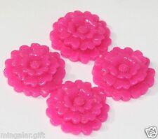 30pcs Fuchsia Pink Acrylic 3 Layer Flower Cabochon 23mm