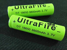 2 x UltraFire 18650 8800 3.7V Rechargeable Li-ion Battery Flashlight torch