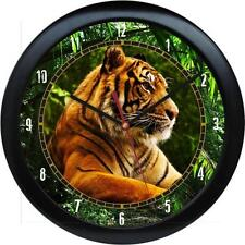 "Tiger 10.75"" Wall Clock Wild Animal Print Zoo Jungle Tiger Gift"