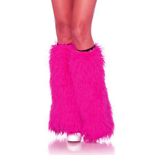 """Neon Hot Pink Furry Sexy Leg Warmers Adult Rave Halloween Costume Accessory 18"""""""