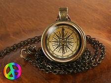Handmade Antique Vintage Nautical Compass Photo Art Glass Pendant Necklace Gift