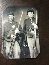 2 Civil War Military Soldiers With Rifles TinType C210NP