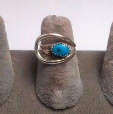 STERLING SILVER TURQUOISE BY - PASS RING. SIZE 5-6.