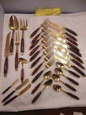 VTG. 1950's Bangkok Jewelry Brass Silverware with Teak Handles (NOT A FULL SET)