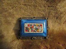 Vintage Enamel & Macro Mosaic Brooch/VERY GOOD CONDITION!