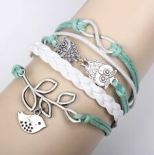Owl Hot Infinity Love Anchor Leather Cute Charm Bracelet plated Silver  SL146C