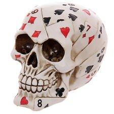 Skull Of Playing Card Poker Face Resin Carved White Gothic Skeleton Halloween