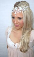 Ivory Pearl Dangle Forehead Tiara Hair Head Band Piece 1920s Flapper Choochie