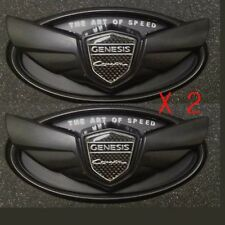 2X HYUNDAI GENESIS COUPE FRONT REAR MATT BLACK WING EMBLEMS TRUNK GRILLE