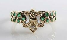 CLASS 9K 9CT GOLD ART DECO EMERALD DIAMOND ETRNITY CROWN INS RING FREE RESIZE