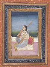 India Miniature Painting Reproduction: Musician Playing - Fine Art Print