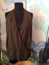KENNETH COLE REACTION  L GREEN FAUX WRAP RUCHED SIDES RAYON SLEEVELESS TOP