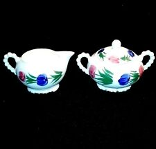 Blue Ridge Pottery - Rosemary or Tulip Ring Pattern - Cream, Sugar and Lid.