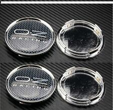 Set of 4 OZ Racing Alloy Wheel Center Caps Hub Carbon Fibre with OZ Silver 60mm