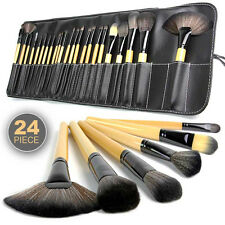24 PCS Wood Superior Soft Cosmetic Makeup Brush  Kit with Black Pouch Bag Case