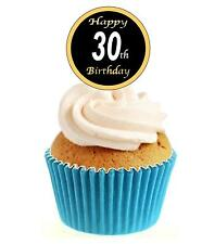 Novelty 30th Birthday Black & Gold 12 Edible Stand Up wafer paper cake toppers