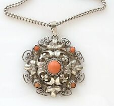 Vtg Red Coral Silver Ornate Franconeri Pendant Necklace Antique Italy 925 Chain