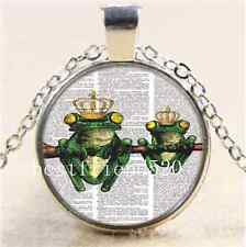Vintage Frog Prince Cabochon Glass Tibet Silver Chain Pendant Necklace