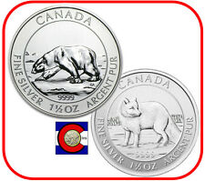 2013-2014 Canada Silver 1.5oz $8 Polar Bear & Arctic Fox - 1st 2 Coins in Series