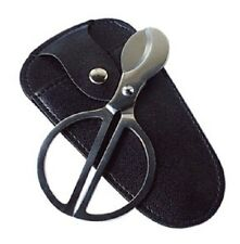 Stainless Steel Cigar Scissors Cutter with Black PVC Leather Pouch