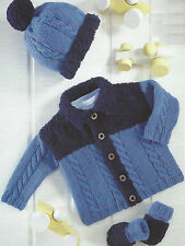 "Baby  Knitting Pattern Jacket Hat Mitts DK 16-26""  364"