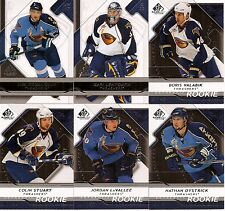 2008-09 UD Upper Deck SP Game Used Atlanta Thrashers Team Set w/ RC's (6)