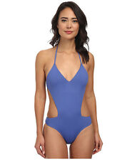 ROXY GIRLS JUST WANNA HAVE FUN V-NECK ONE PIECE SWIMSUIT BLUE SMALL NEW! $78