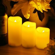 3 LED Pillar Flickering Flameless Votive Candles Light & Timer w/ Remote Control
