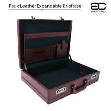 Faux Leather Expandable Executive Business Briefcase Attache Work Case BROWN