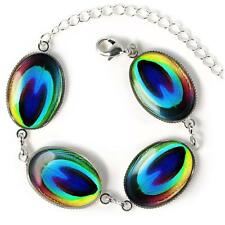 Colorful Rainbow Peacock Bird Feather Glass Gypsy Sterling Silver Charm Bracelet