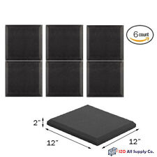 "6 Pack Soundproofing Acoustic Wedge Foam Bevel Tiles Wall Panels 12"" X 12"" X 2"""